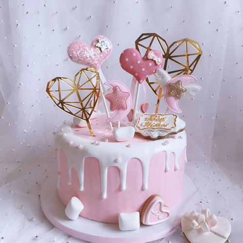 3Pcs/Set Diamond Pink Love Toppers