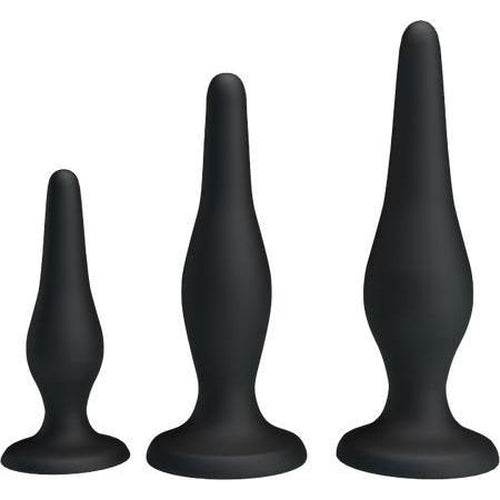 Beginner's Mini Anal Butt Plug Training Kit (Black)