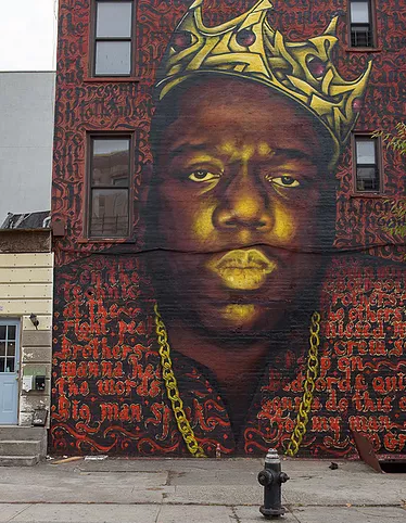 Image of The Notorious BIG mural in Bed-Stuy, Brooklyn