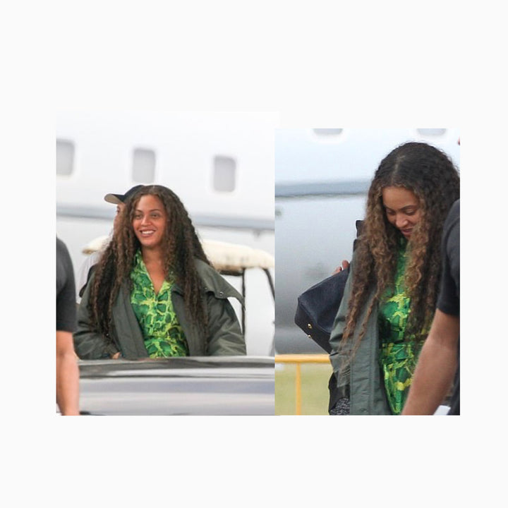 Beyonce Wearing the Sai Sankoh Algeria Green Snake Skin Shirt Dress