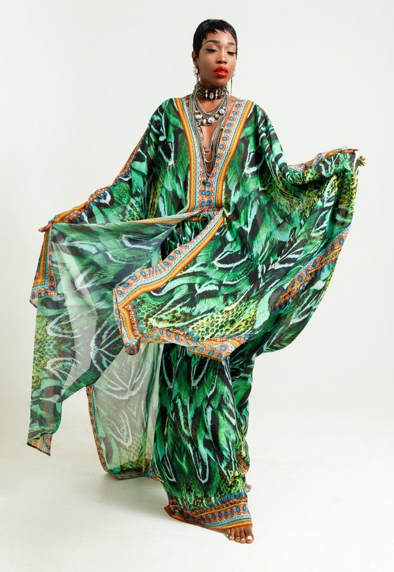 Green Kaftan Top and Pants Set
