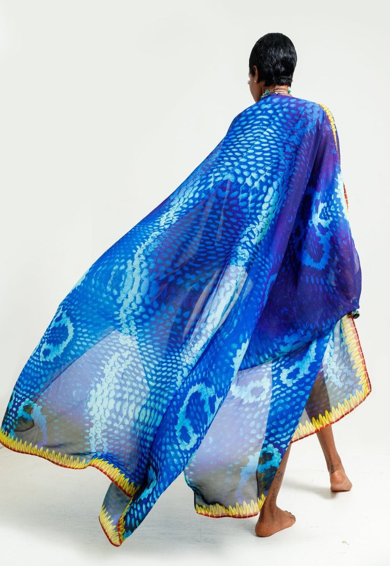Luxury Resort Wear Kaftans made in India Bright Blue