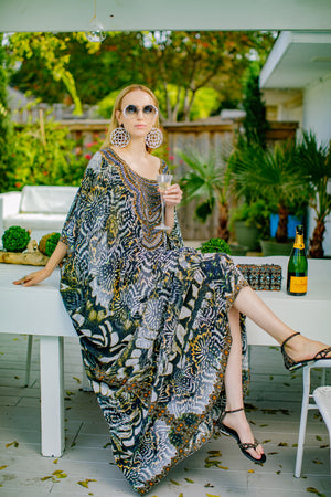 Jules Long Silk Crepe Embellished Kaftan