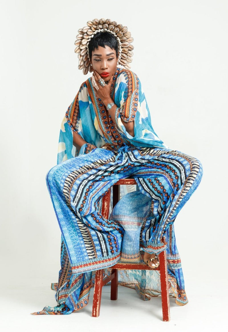 kaftan and pants set blue fiji fashion style