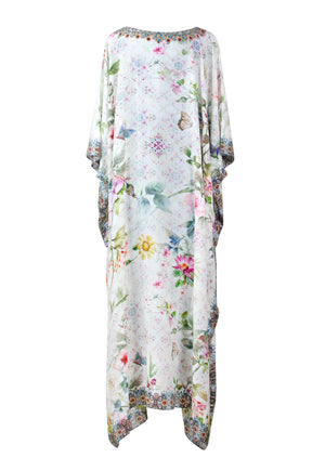 Gloria Long Silk Crepe Embellished Box Kaftan