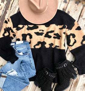 Leopard Block Sweater {Black}