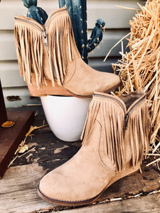 The Wendy Fringe Wedge Bootie {Taupe}