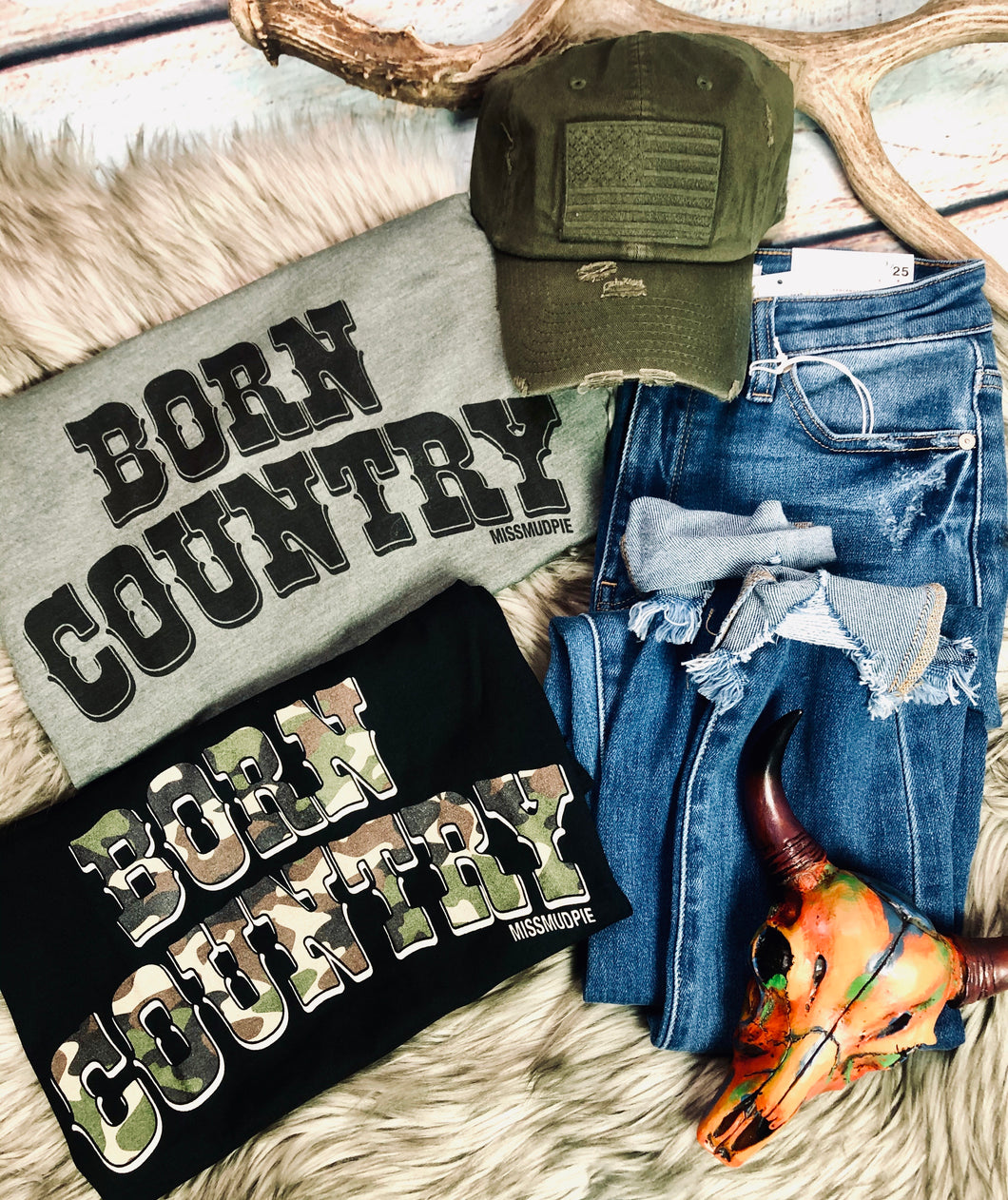 Born Country Tee {Black with Camo}