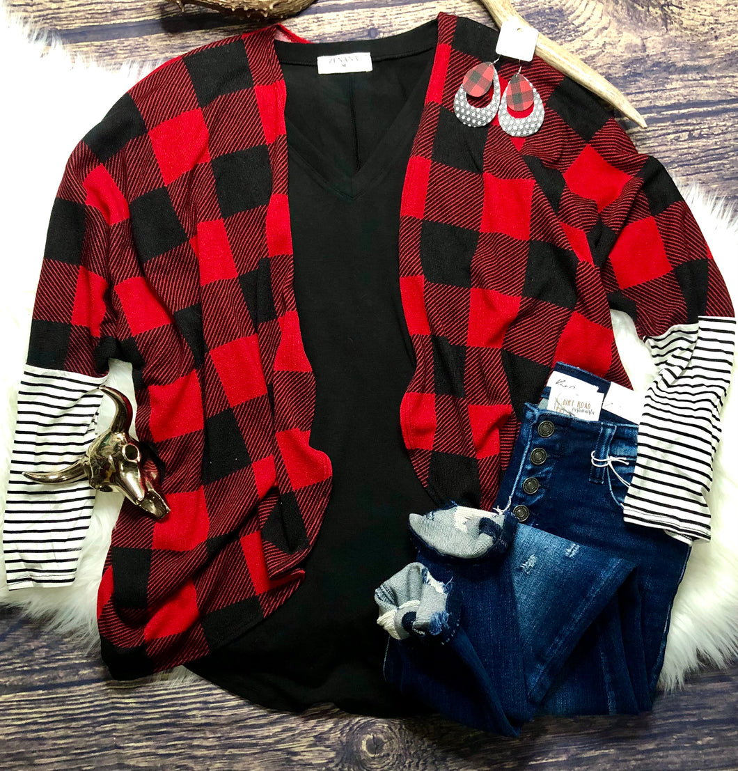 Buffalo Plaid & Stripes Cardigan {Red}