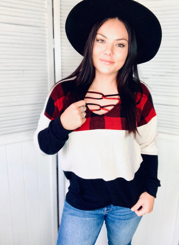Laced with Plaid Sweater {Red}