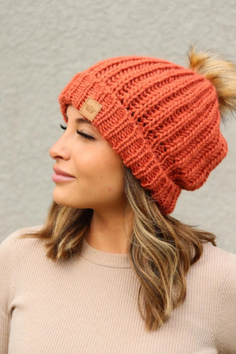 Braided Knit Pom Beanie