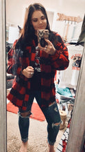 Buffalo Plaid Distressed Flannel Shacket {Red}
