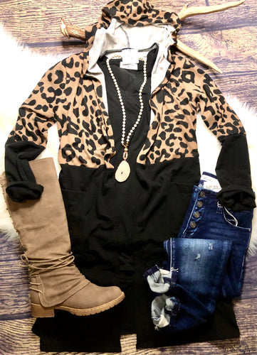 Hooded Leopard Cardigan