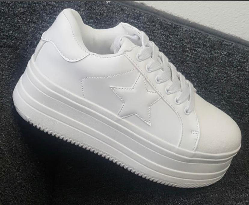 White High Heel Sneakers Shoes