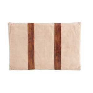 22 Inch Rectangular Repurposed Canvas Pillow with 2 Leather Strips