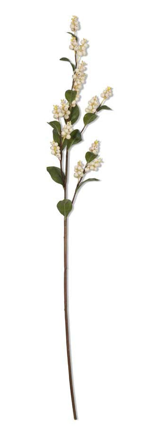 39 Inch White Berry w/Green Leaf Stem