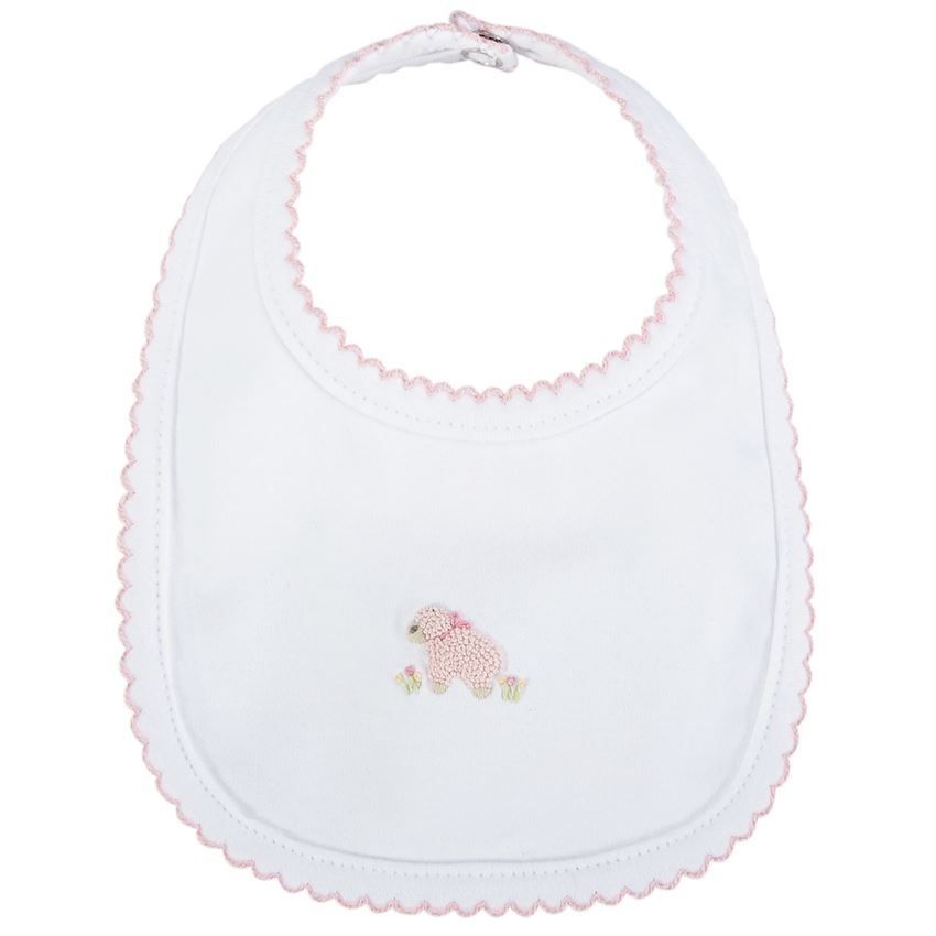 PINK FRENCH KNOT LAMB BABY BIB