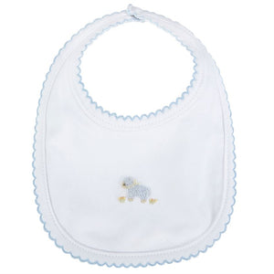 BLUE FRENCH KNOT LAMB BABY BIB
