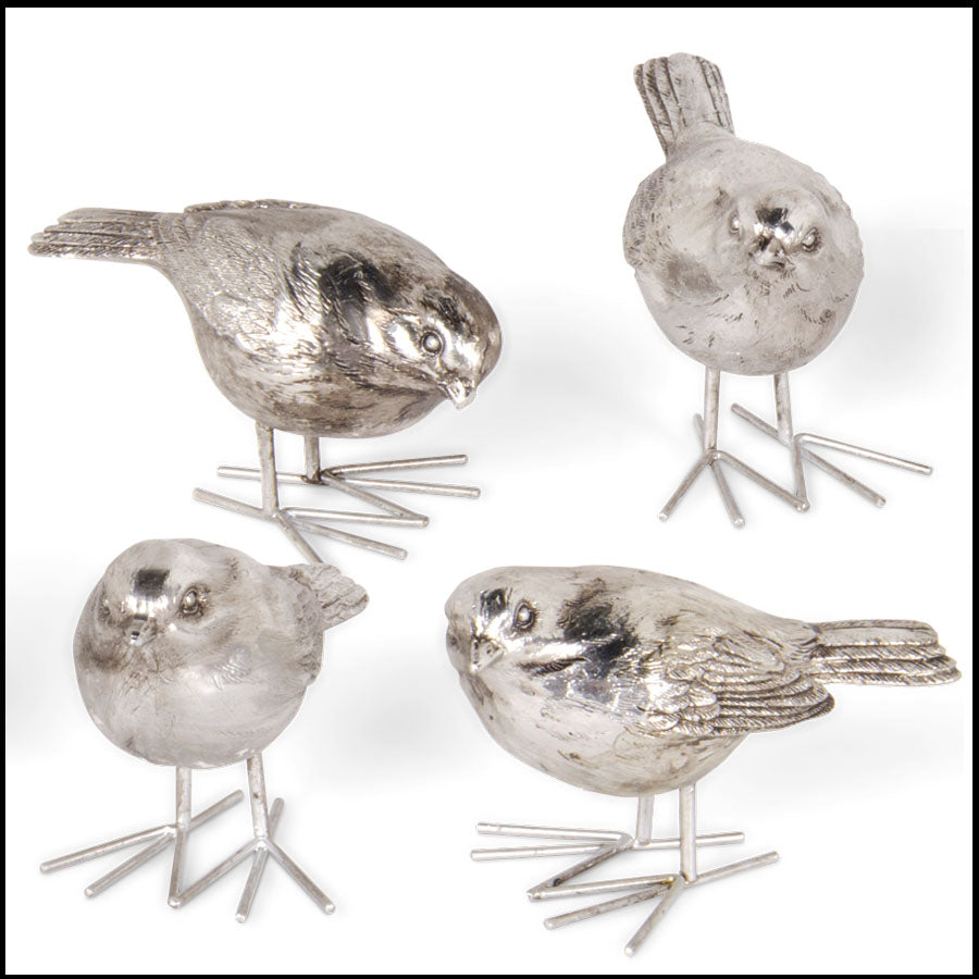 Assorted 4 Inch Antique Silver Birds
