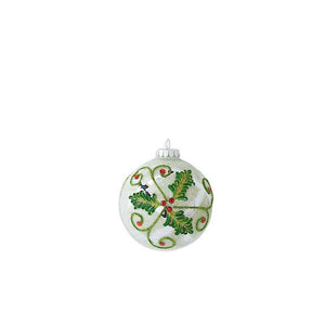 4 Inch Round White Beaded Ornament with Mirrored Holly Motif