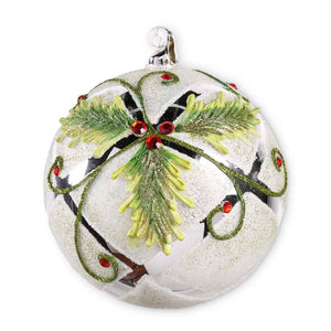 6 Inch Round White Beaded Glass Ornament with Mirrored Holly Motif
