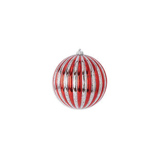 8 Inch Round Red and Silver Striped Shatterproof Ornament