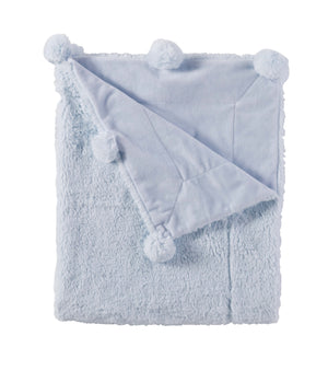 BLUE PLUSH POM-POM BLANKET