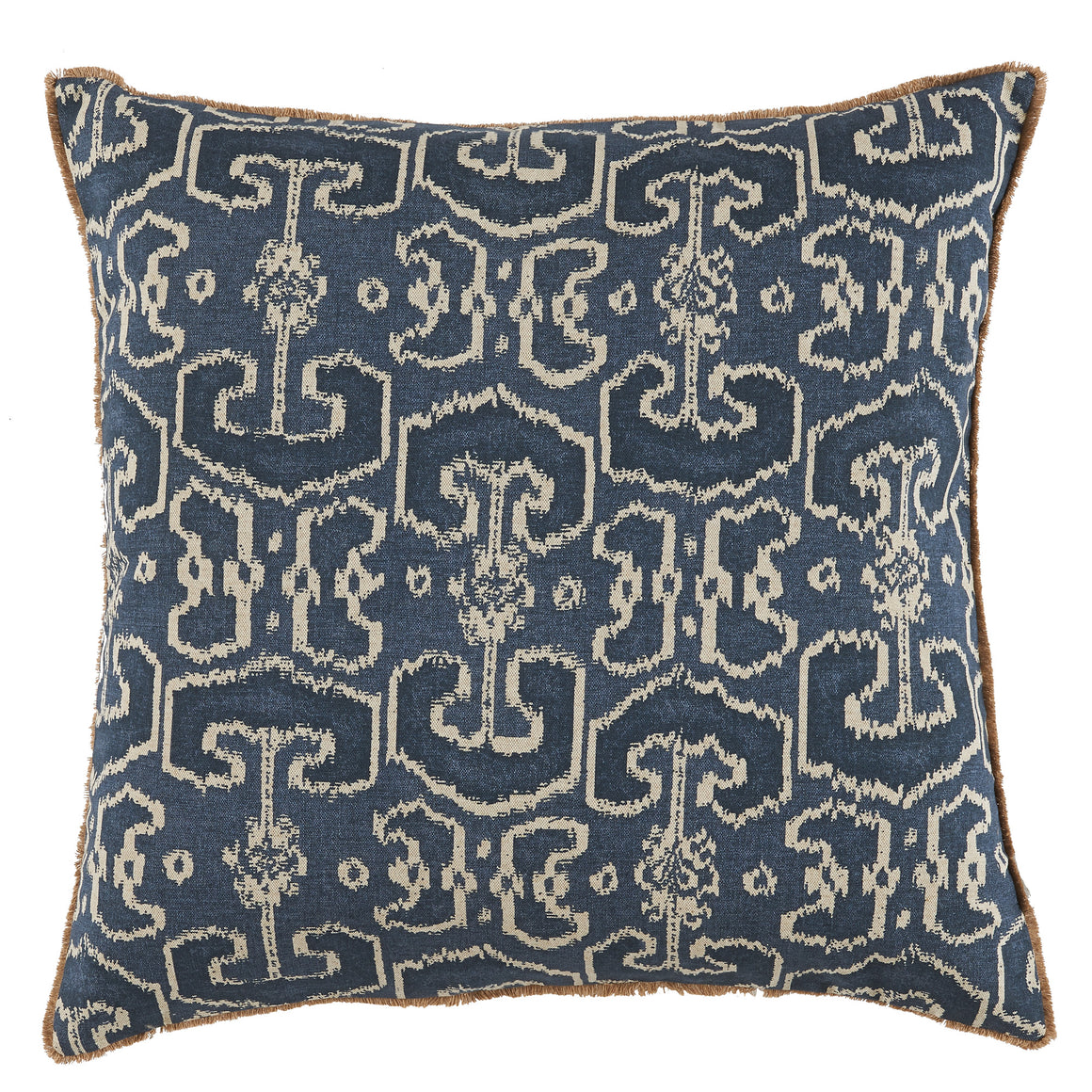 Bengali Indian Blue Pillow with Jute Eyelash Trim