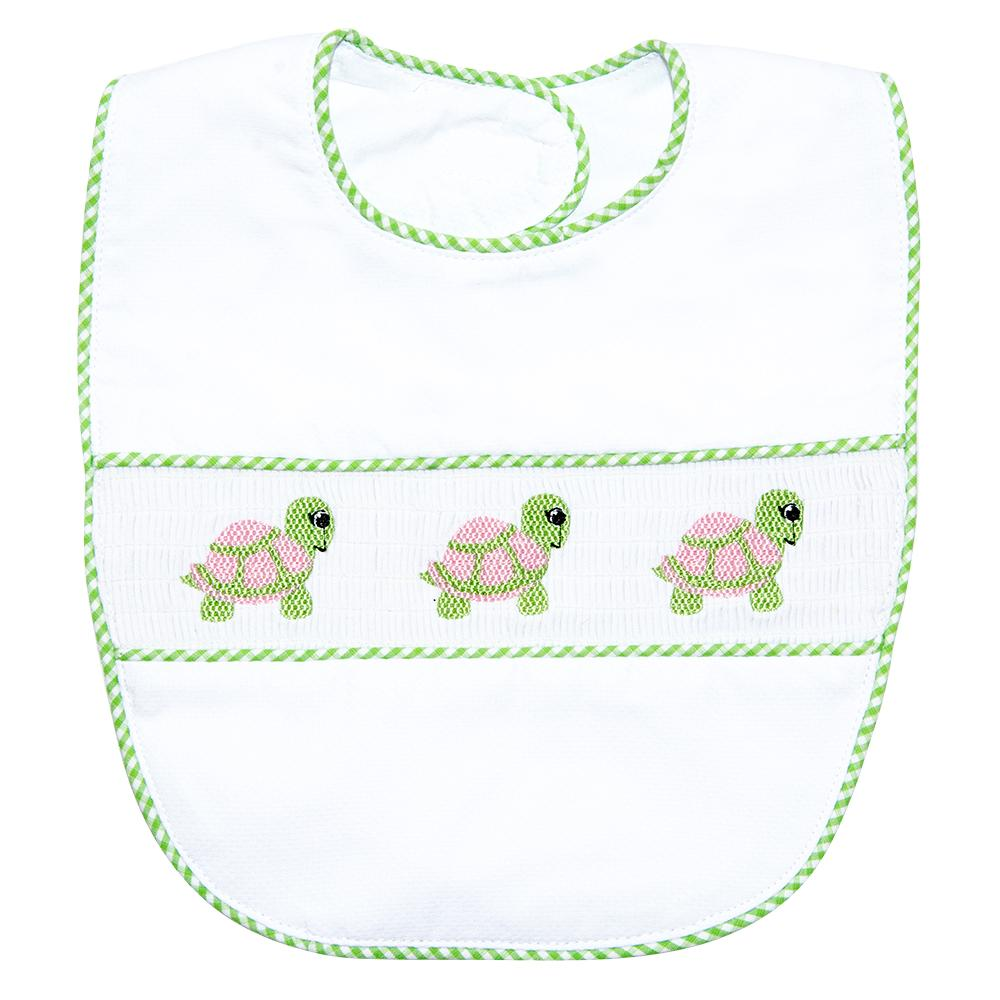 Green Turtle Smocked Bib