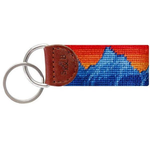 Mountain Sunset Needlepoint Key Fob