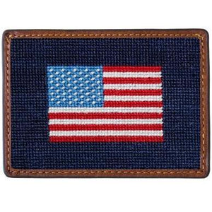 American Flag Needlepoint Credit Card Wallet - OnwardReserve