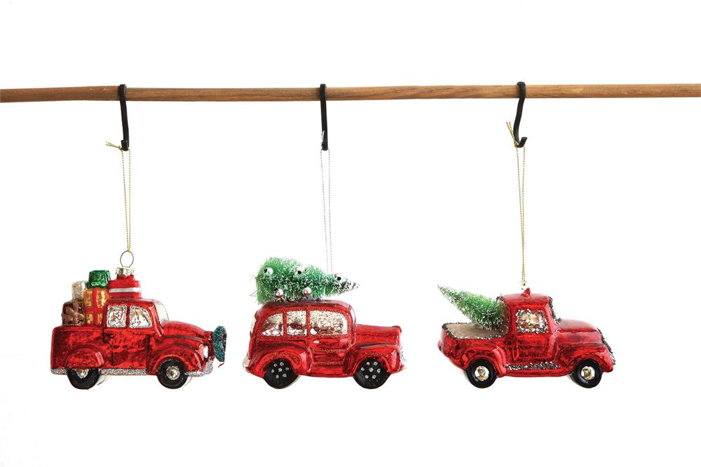 Glass Automobile w/Tree Ornament, 3 Styles