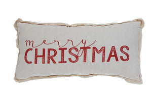 "Fabric Pillow w/ Silk Screen ""Merry Christmas"", w/ Fringed Edges"