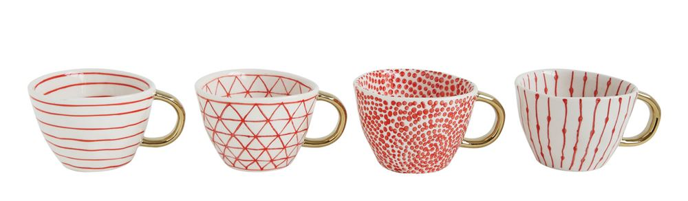 Stoneware Mug, Red Pattern w/ Gold Electroplating, 4 Styles