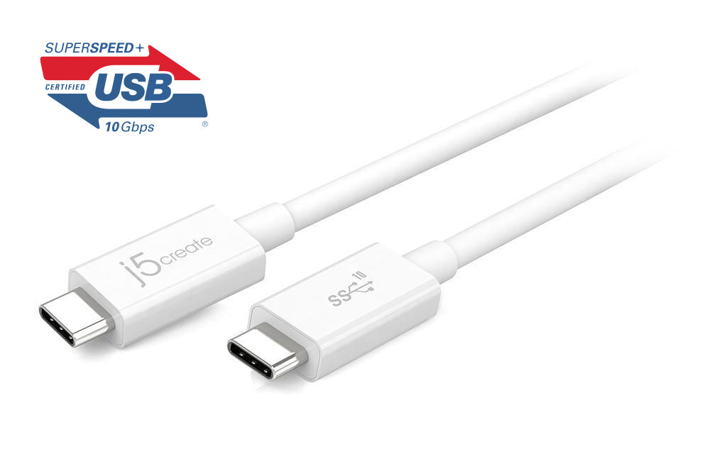 j5create JUCX01 USB 3.1 Type-C 对 C 传输线(USB-IF 认证)
