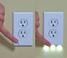 Load image into Gallery viewer, OUTLET WALL PLATE WITH LED NIGHT LIGHTS-NO BATTERIES OR WIRES [UL FCC CSA CERTIFIED]