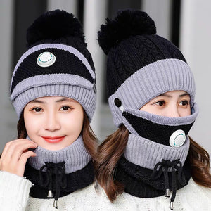 3PCS Womens Winter Scarf Set( Hat + Scarf + Mask)