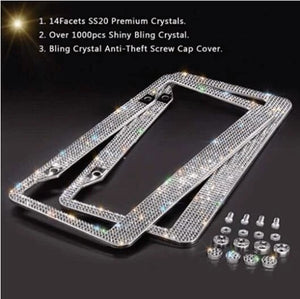 (Hot sale 2 pcs)Luxury Handcrafted White Rhinestone Premium Stainless Steel A license Plate Frame
