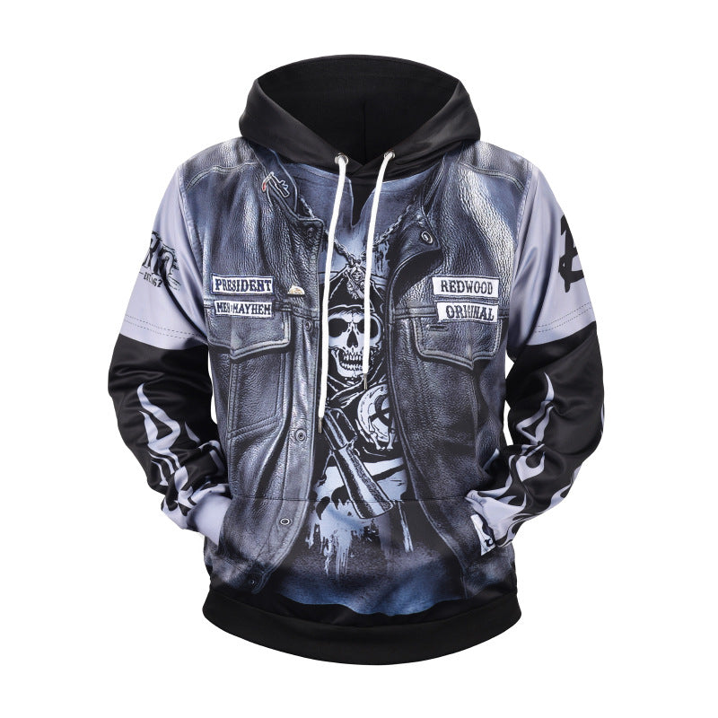 3D leather fake two hoodies