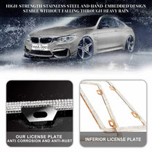 Load image into Gallery viewer, (Hot sale 2 pcs)Luxury Handcrafted White Rhinestone Premium Stainless Steel A license Plate Frame