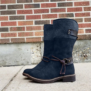 Comfy Low Heel Mid-calf Boots,Free shipping
