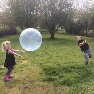 Inflatable tear-resistant bubble ball