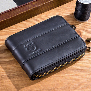 Retro first layer real cowhide zipper multi-card short men's wallet