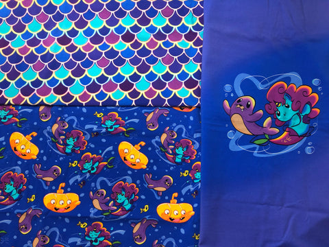 1yd Snarf Mermaids, 1yd Scales coord and 1 Big Kid Panel Set of 3- CL