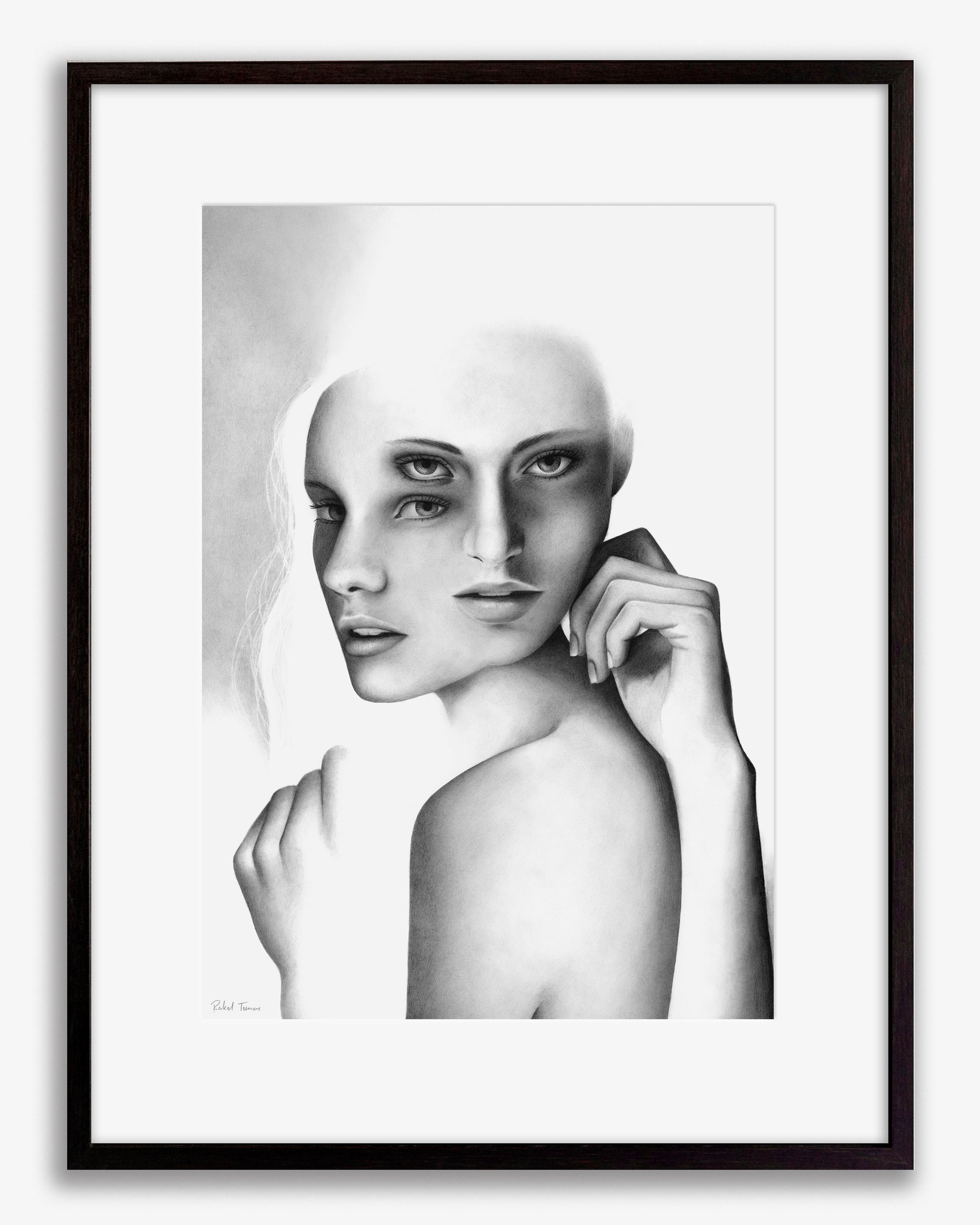 Surrealistic pencil drawing of the female body by Rakel Tomas