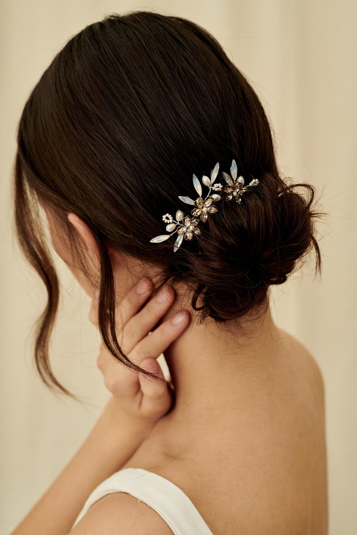 Floral cluster hairpins with glass beads, pearls, and marquise beading