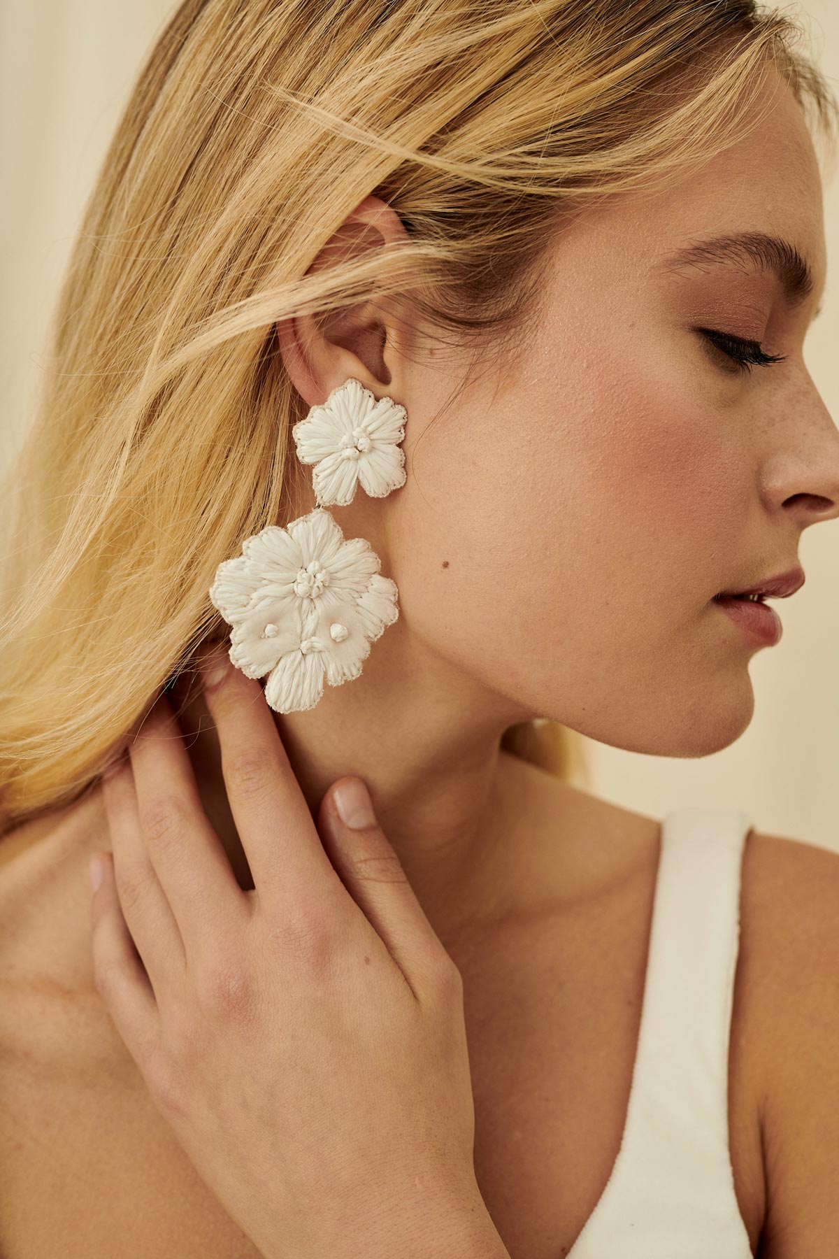 Two-tiered boho bridal earring made with raffia & organza embroidered flowers