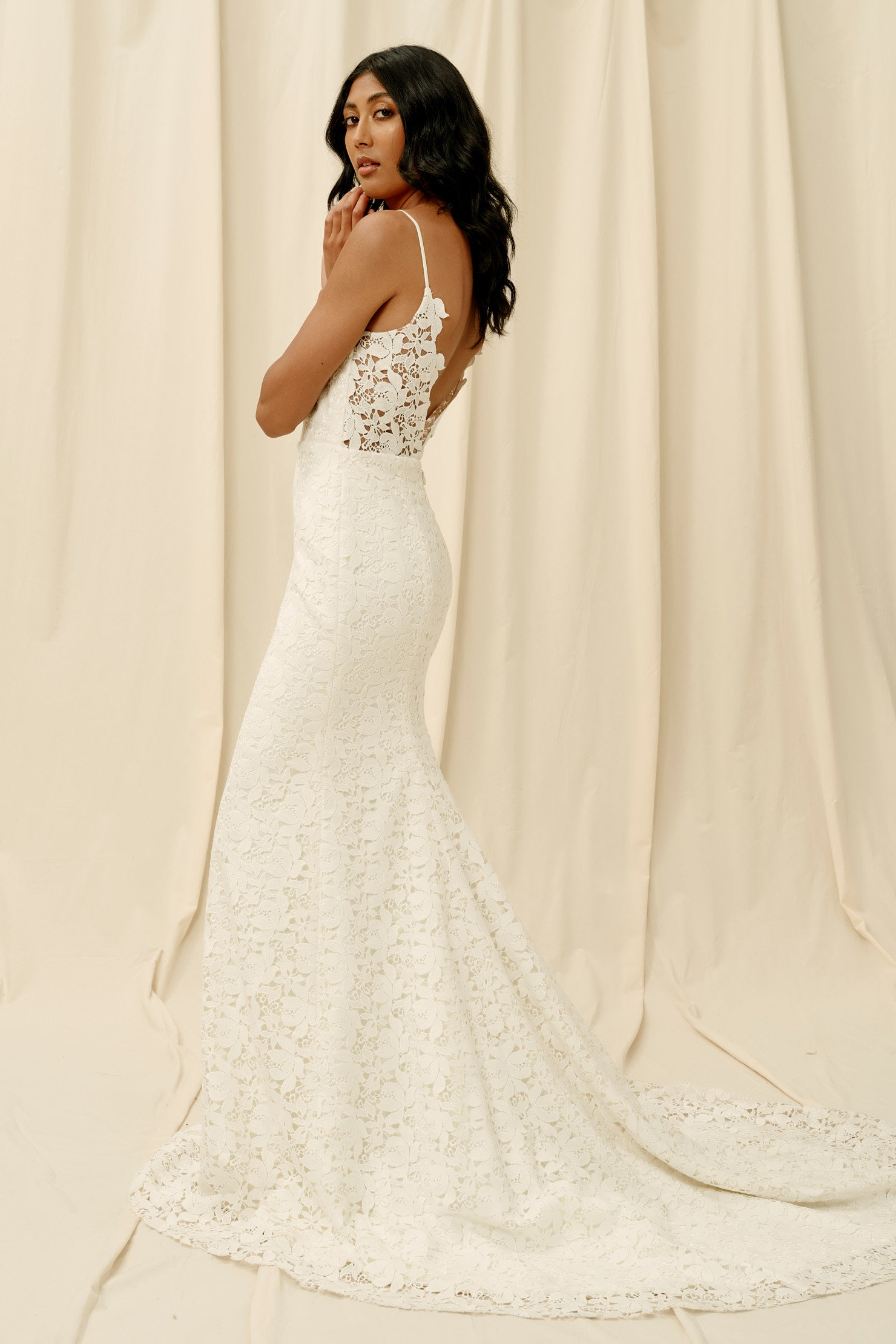 Mermaid skirt wedding dress with floral lace