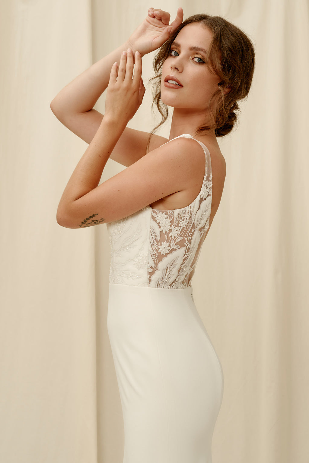 Modern crepe wedding dress Vancouver BC