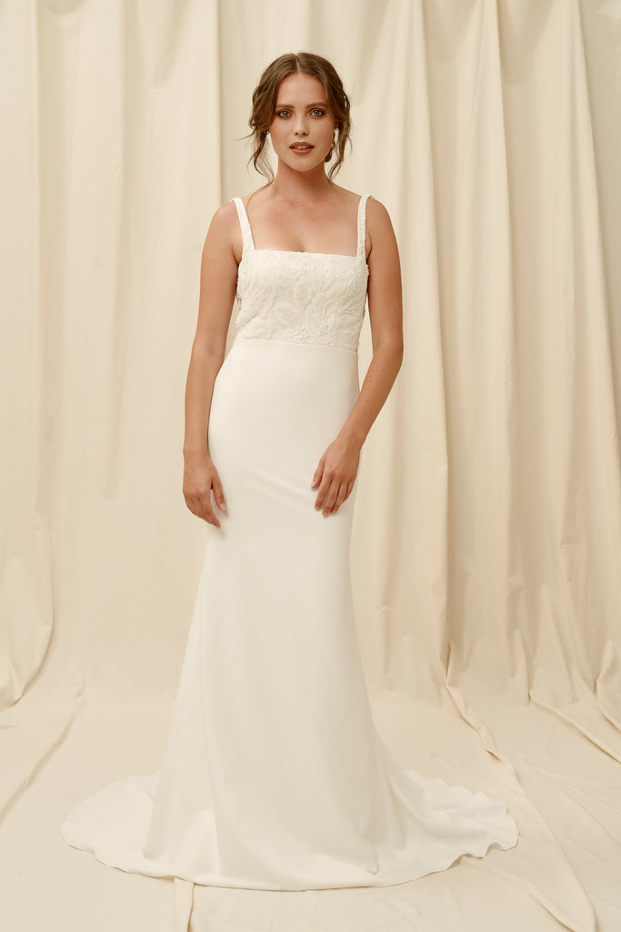 Square neck wedding dress with modern beaded lace